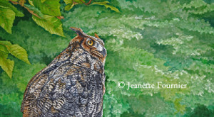 great horned owl painting