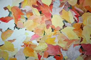 frog and fall leaves art