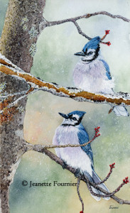 painting of blue jays